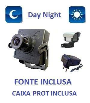 Mini Camera Ccd Sony 1000 Linhas + Fonte + Caixa De Prot