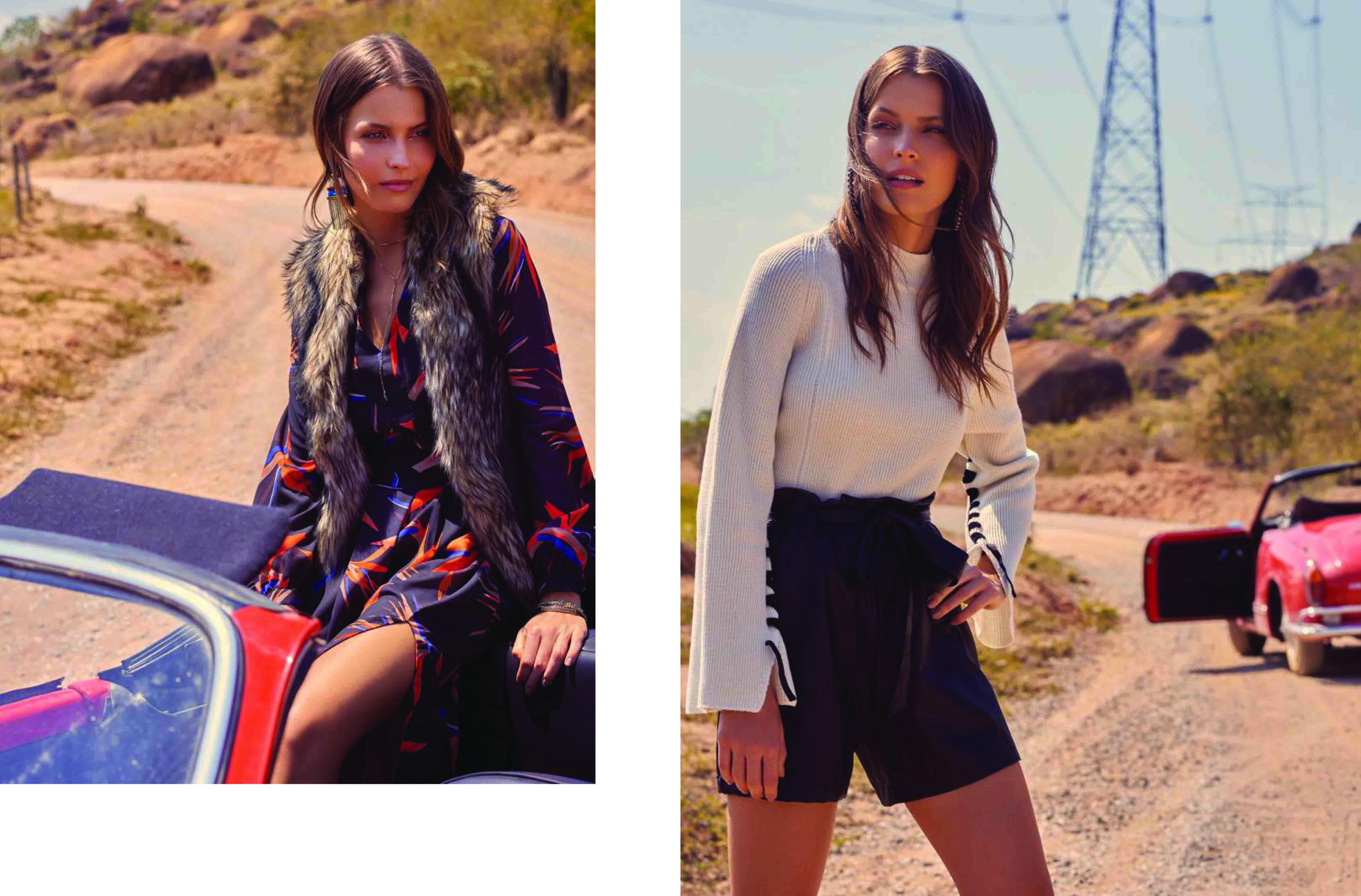 Dress Estampado com Colete Pelos / Tricot Amarração com Shorts Couro Eco