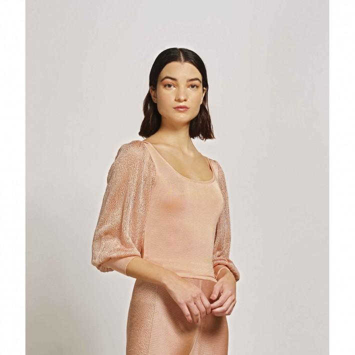 Blusa De Tricot Cropped Decote Quadrado