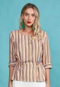 Blusa Decote Canoa Color Stripe
