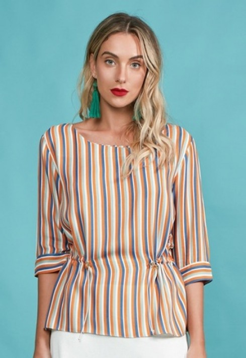 Blusa Decote Canoa Color Stripe