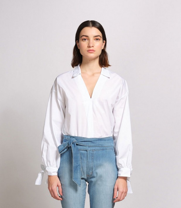 Camisa De Tricoline Com Decote Quadrado Pregueado E Amarração Nos Punhos