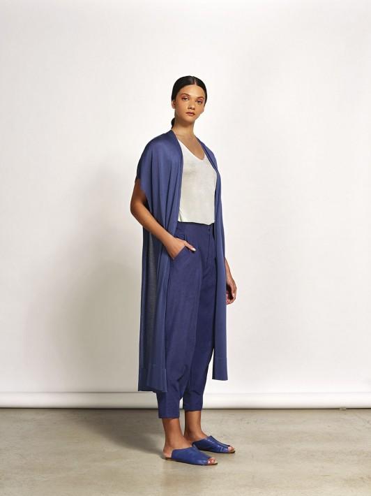 Kimono De Tricot Longo Com Fendas Laterais