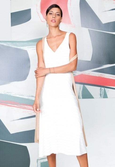Vestido Decote V Delicate Stripe