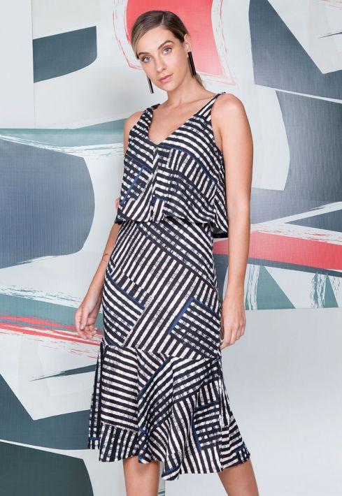 Vestido Fluido Stripe Grafic