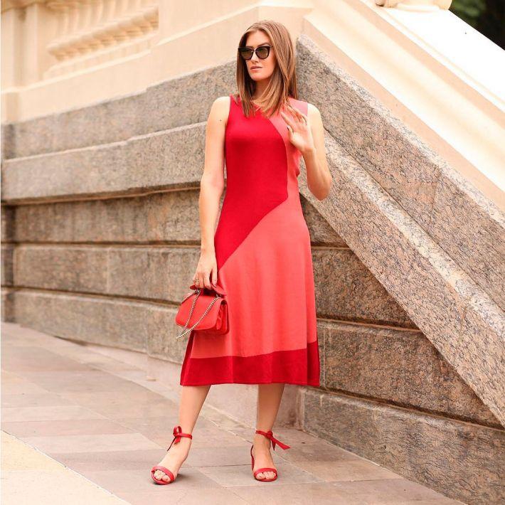 Vestido Intársia Bicolor