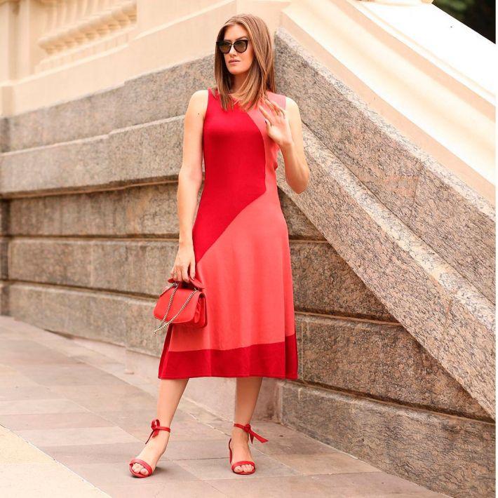 Vestido Intarsia Bicolor