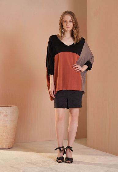 Blusa Ampla Color Block