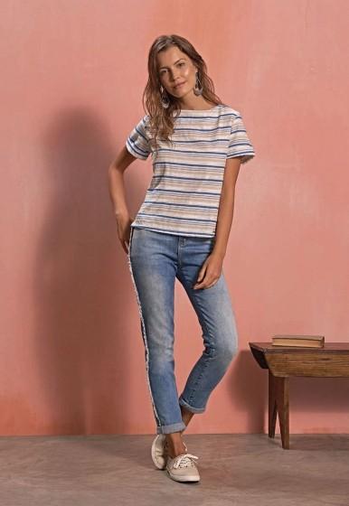 Calça Jeans Desfiada Lateral