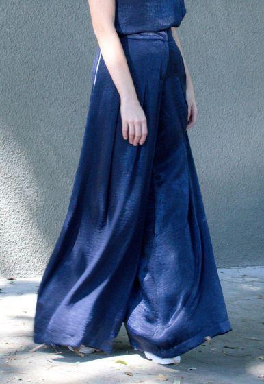 Calça Seda com Vivo - Marthina Brandt
