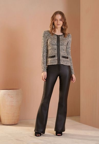 Casaco Chanel Flamme Detalhes Couro