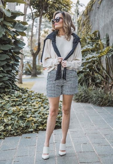 Short Tweed Mix Denim