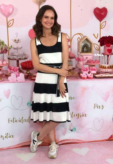 Vestido Bicolor com Faixa - Fernanda Rodrigues