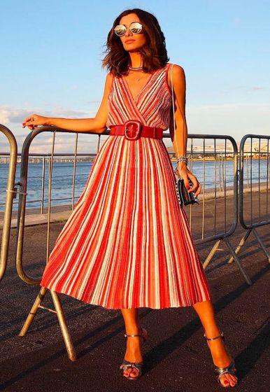 Vestido Plissado Colorido - Silvia Braz