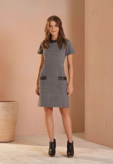 Vestido Tweed Detalhe Couro