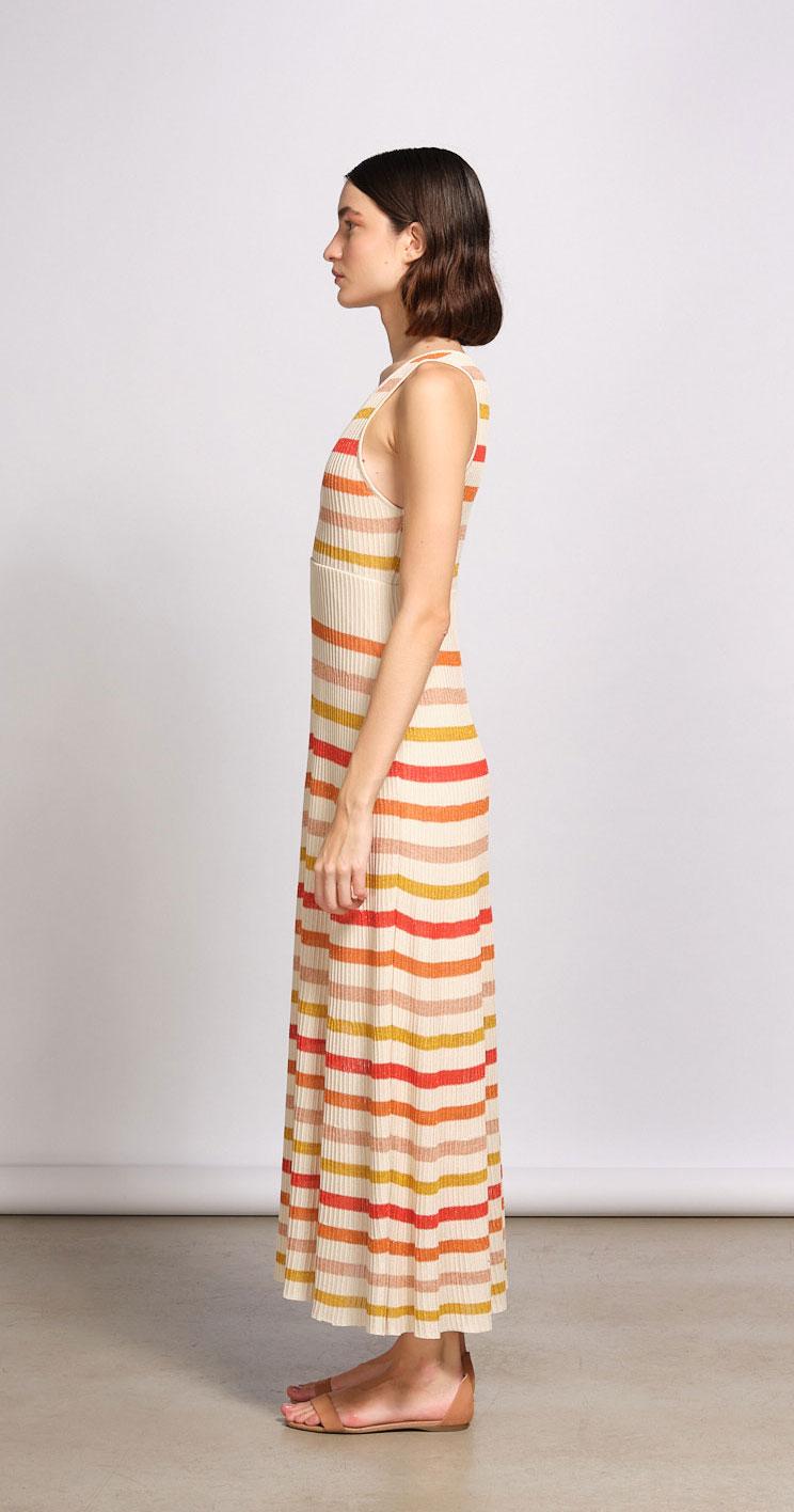 Vestido De Tricot Listrado Tricolor