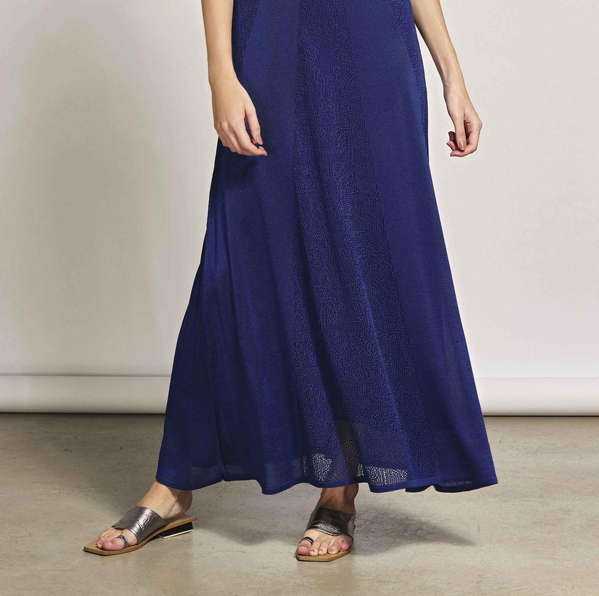 Vestido De Tricot Longo Com Rendado