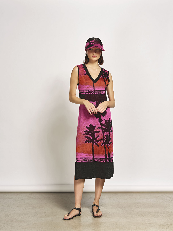 Vestido Decote V Jacquard Miragens