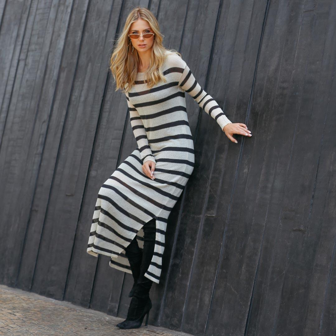 Vestido Longo Listras