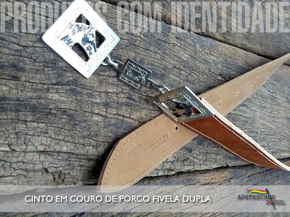 CINTO EM COURO DE PORCO FIVELA DUPLA APETRECHOS DO SUL