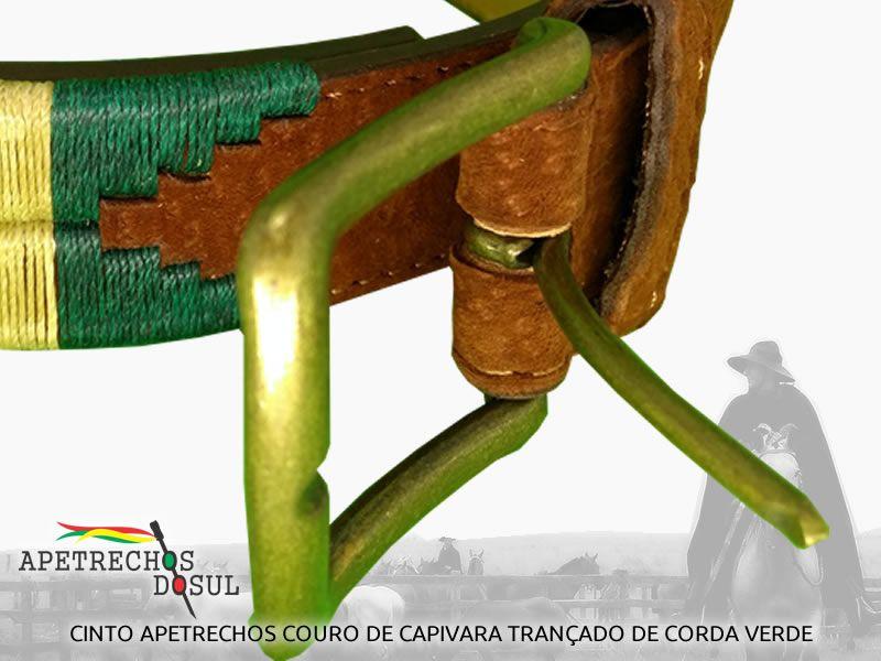 Cinto Pampeano Apetrechos do Sul em Couro Exótico e Trançado de Cordas com Fivela de Metal Envelhecido