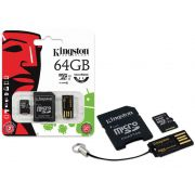 Cartão de Memória Kingston Micro SD 64GB Classe 10 Microsdxc + 1 Adaptador SD + 1 Adaptador USB MBLY10G2/64GB