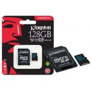 Cartão de Memória Kingston Micro SD Canvas GO! 128GB Classe 10 + 1 Adaptador SDCG2/128GB