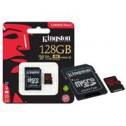 Cartão de Memória Kingston Micro SD Canvas React 128GB Classe 10 + 1 Adaptador SDCR/128GB