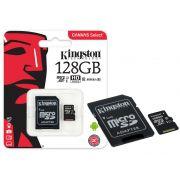 Cartão de Memória Kingston Micro SDXC 128GB Classe 10 + 1 Adaptador UHS-1 SDCS/128GB