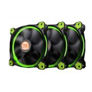 Kit 3 Unidades FAN Cooler Thermaltake Riing LED Verde 120MM CL-F055-PL12GR-A