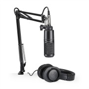 Kit Streaming / Podcasting Audio-Technica AT2020PK Microfone AT2020 + Fone ATH-M20x + Suporte Ajustável