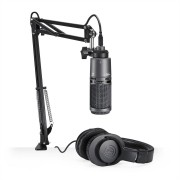 Kit Streaming / Podcasting Audio Technica AT2020USB+PK Microfone + Fone ATH-M20x + Suporte Ajustável