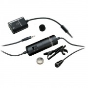 Microfone de Lapela Audio Technica ATR3350IS Omnidirecional com Adaptador P/ Smartphones