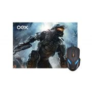 Mouse PAD + Mouse Gamer 2400DPI OEX Combo WAR MC100