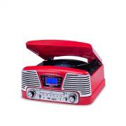 Vitrola Raveo CTX Harmony Bivolt Vermelho, Toca Discos Vinil, USB, Cartão SD,CD Player, Rádio FM