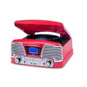 Vitrola Raveo Harmony BT Vermelha C/ Bluetooth Toca Discos Vinil, USB, SD, CD, FM