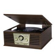 Vitrola Raveo Sonata BT Bluetooth Toca Discos, CD , Rádio FM, USB, AUX, Conversor de Vinil em USB
