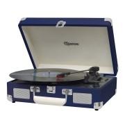 Vitrola Retrô Raveo Sonetto Chrome Navy (Azul Escuro), Toca Discos, Entrada USB, Bluetooth, Reproduz e Grava Vinil