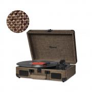 Vitrola Retrô Raveo Sonetto Onix Earth (Marrom), Toca Discos, Entrada USB, Bluetooth, Reproduz e Grava Vinil