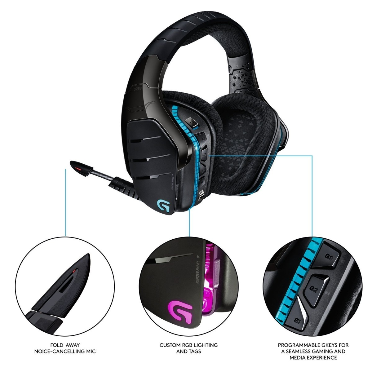 Headset Gamer Logitech Wireless 7 1 Surround G933 Artemis Spectrum P/  PC,PS4,XBOX ONE