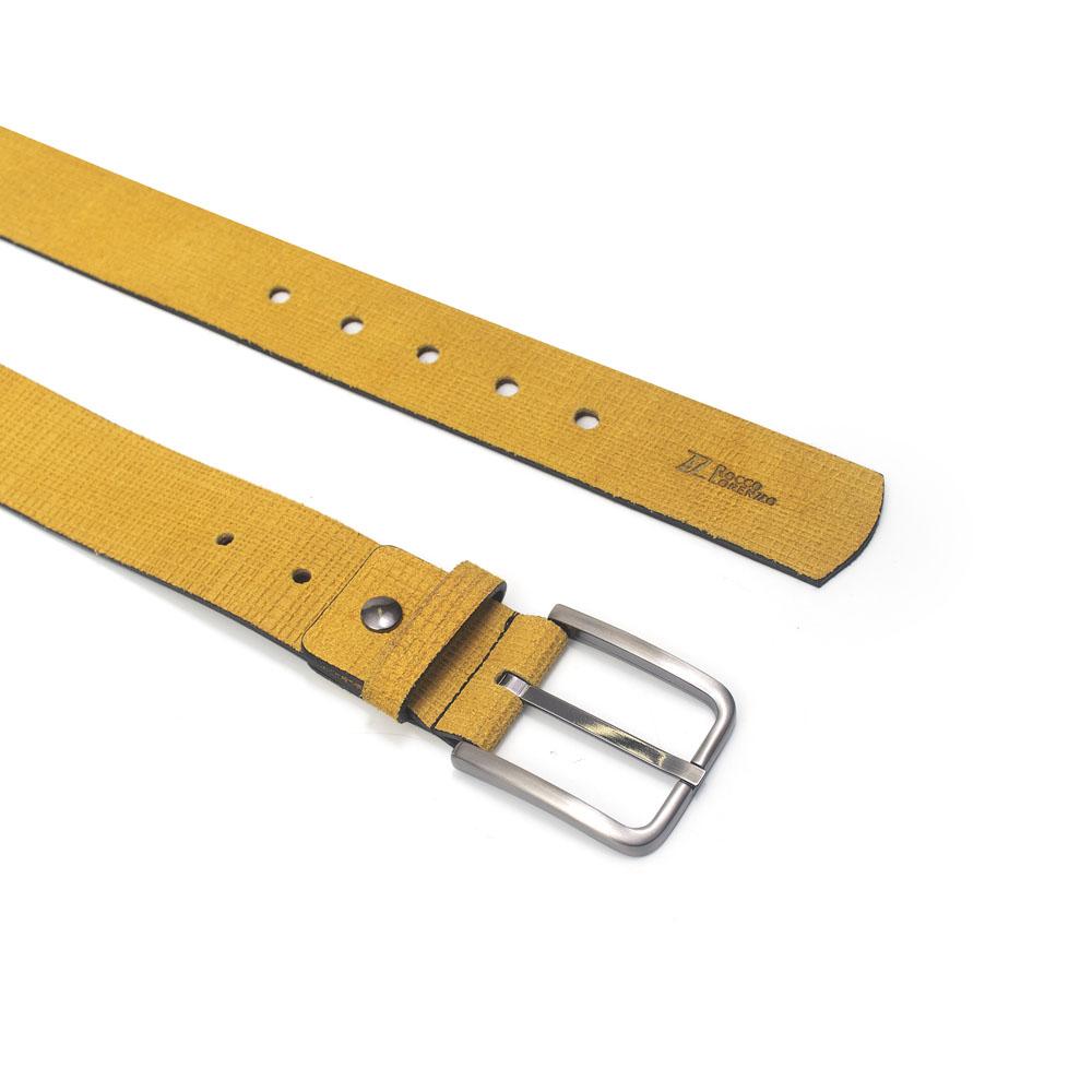 Cinto Masculino em Couro Camurça Amarelo Rocco Lorenzzo - 0006