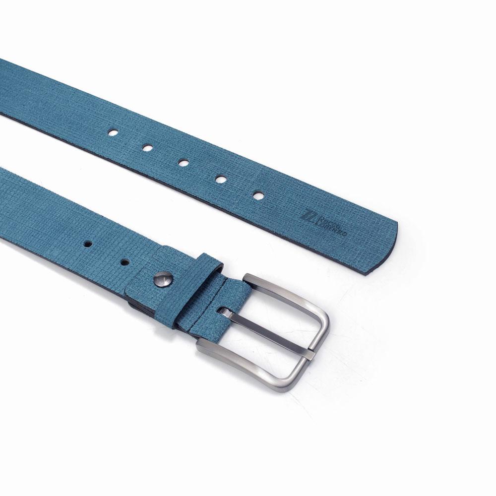 Cinto Masculino em Couro Camurça Azul Claro Rocco Lorenzzo - 0074
