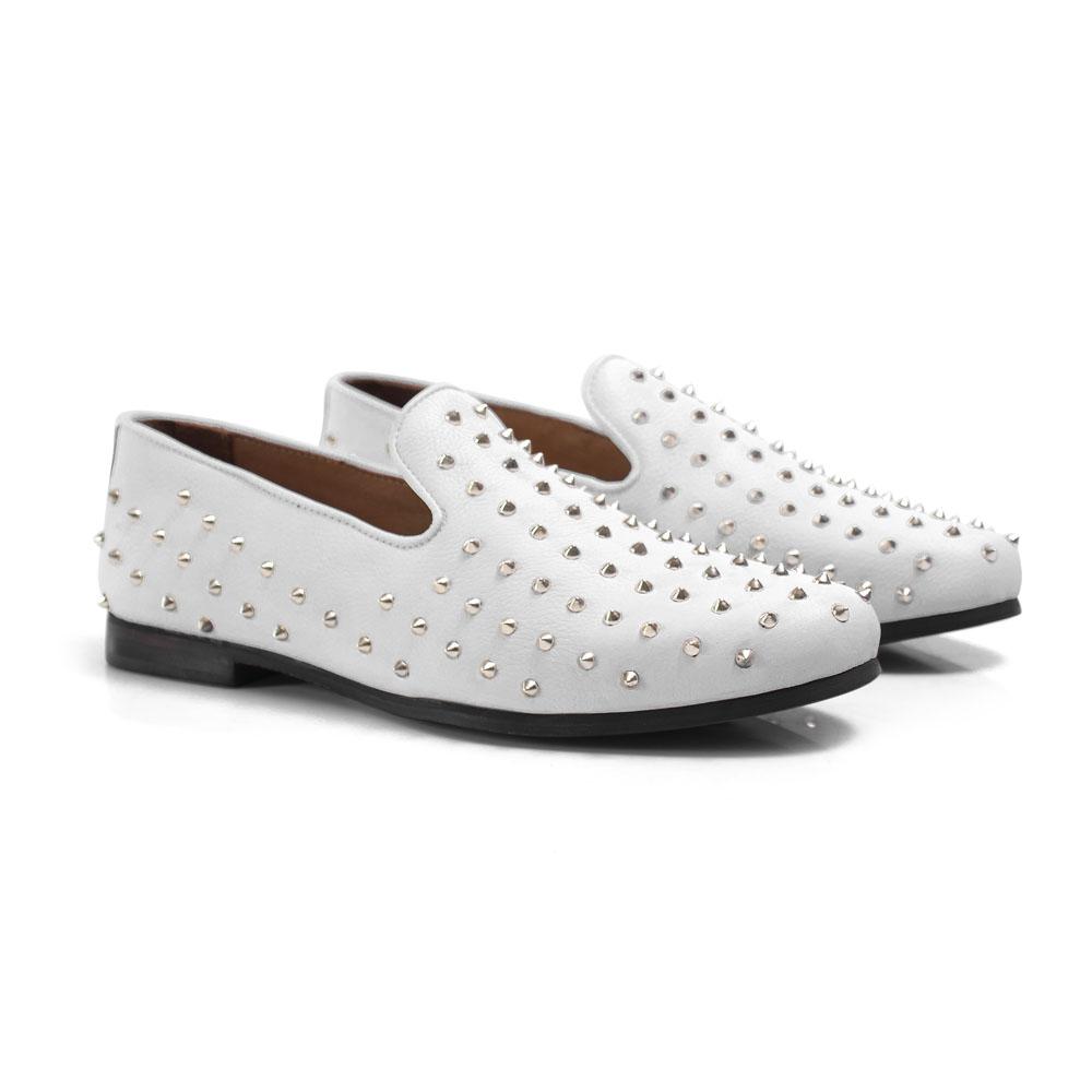 Loafer Masculino em Couro Branco Com Spike Rocco Lorenzzo - 5149