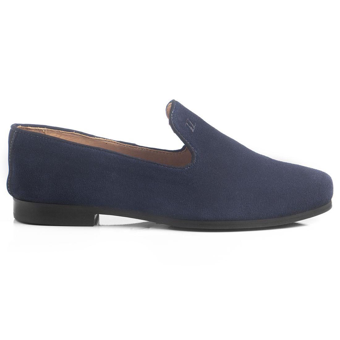 Loafer Masculino em Couro Camurça Azul Marinho Rocco Lorenzzo - 4499