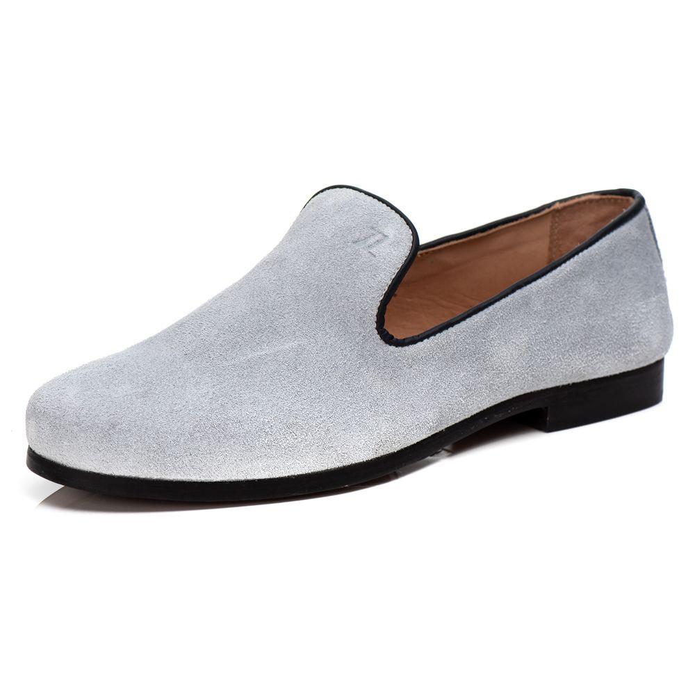 Loafer Masculino em Couro Camurça Branco Rocco Lorenzzo - 4522