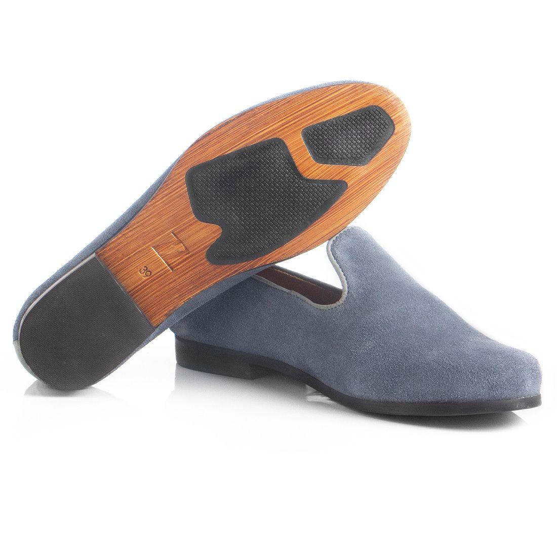 Loafer Masculino em Couro Camurça Cinza Rocco Lorenzzo - 4498