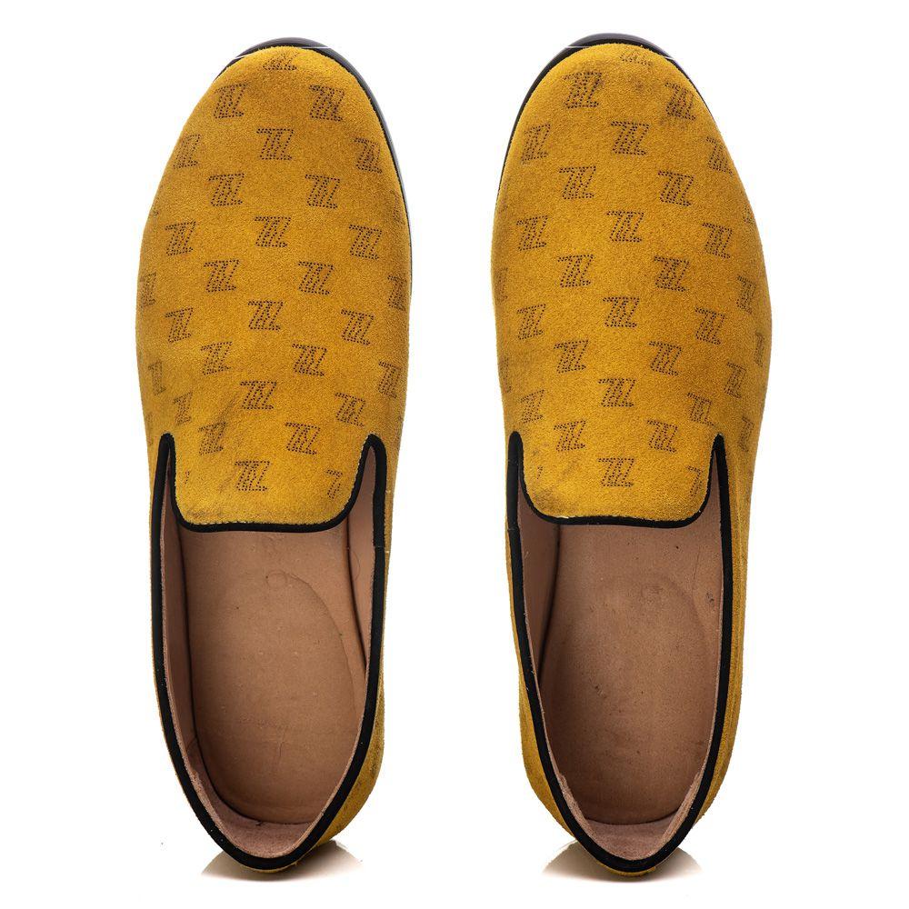 Loafer Masculino em Couro Camurça Com Logo Em Laser Amarelo Rocco Lorenzzo - 5057