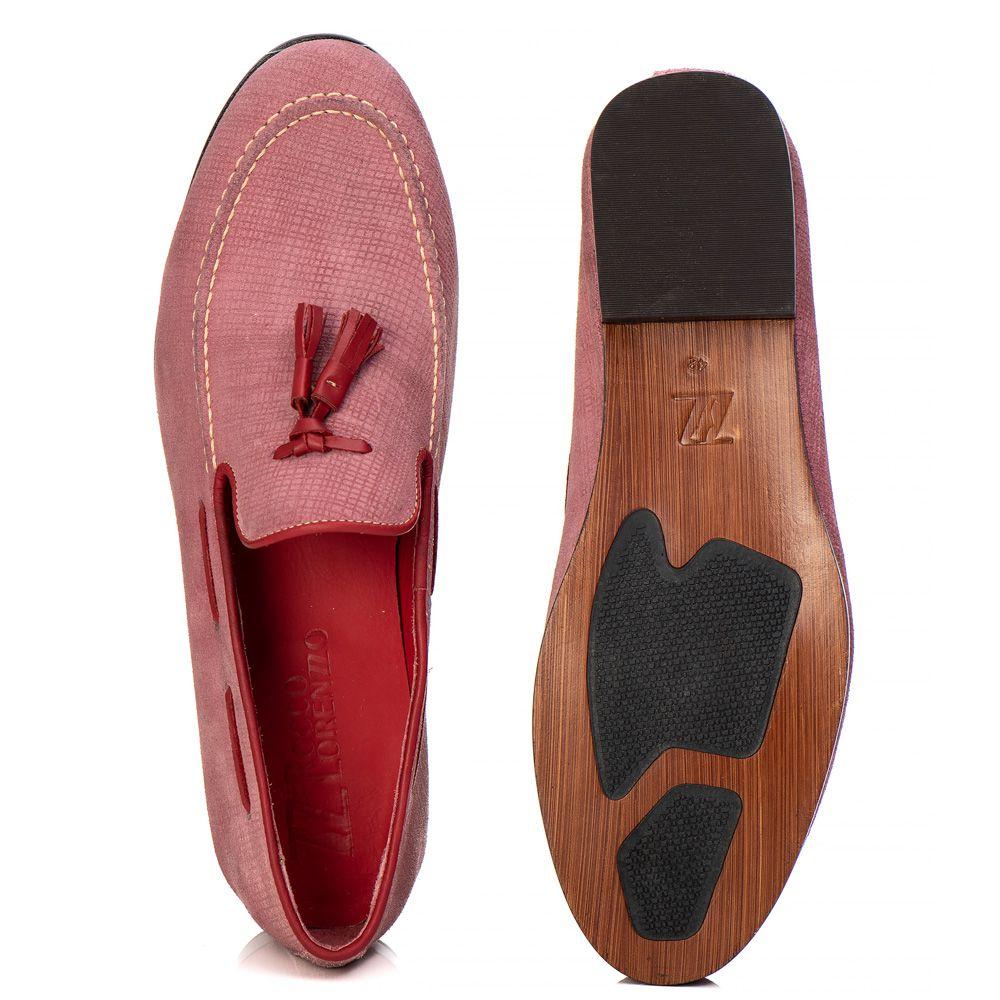 Loafer Masculino em Couro Camurça Rosa Tassel Rocco Lorenzzo - 5027