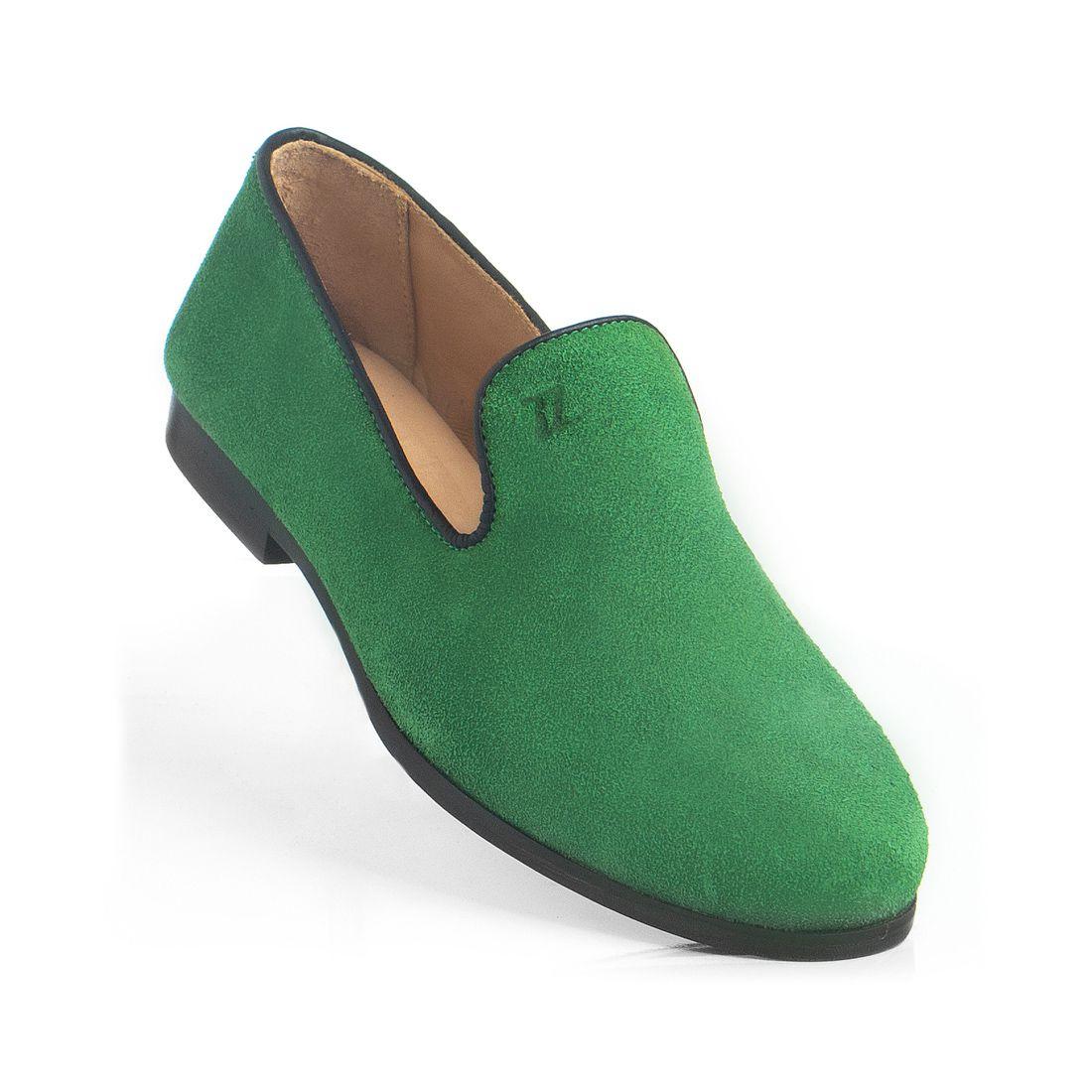 Loafer Masculino em Couro Camurça Verde Rocco Lorenzzo - 4520