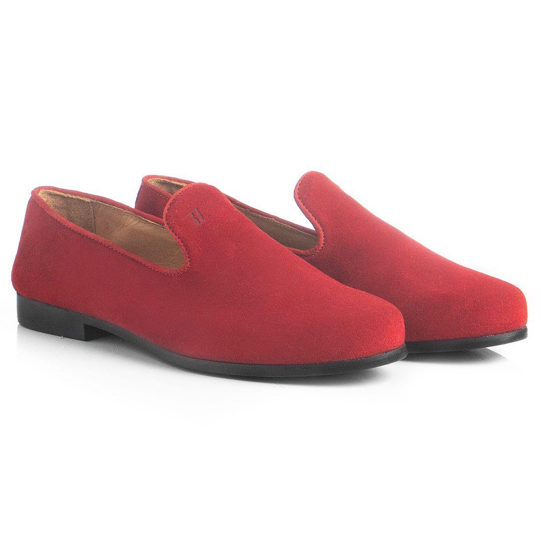 Loafer Masculino em Couro Camurça Vermelho Rocco Lorenzzo - 4511